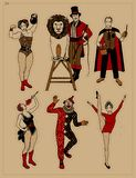 Circus Vintage Collection. The Lion Tamer, The Clown, The Circus Strong Woman, The Circus Magician, The Circus Fire. Eater, The Gymnast Girl stock illustration