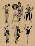 Circus Vintage Collection. The Lion Tamer, The Clown, The Circus Strong Woman, The Circus Magician, The Circus Fire. Eater, The Gymnast Girl royalty free illustration