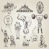 Circus vintage hand drawn vector illustrations set. Royalty Free Stock Photography