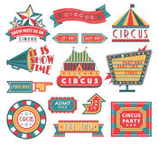 Circus vintage labels banner vector illustration isolated on white royalty free illustration