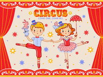 Circus vintage poster with  two circus artists. Royalty Free Stock Photo