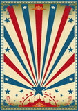 Circus vintage red blue poster. A vintage red circus poster with sunbeams for your show Stock Photo