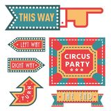 Circus vintage signboard labels banner vector illustration entertaining ticket sign Stock Images