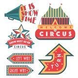 Circus vintage signboard labels banner vector illustration entertaining ticket sign Royalty Free Stock Images