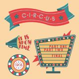 Circus vintage signboard labels banner vector illustration entertaining ticket sign Royalty Free Stock Photo