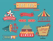 Circus vintage signboard labels banner vector illustration entertaining ticket sign. Collection of symbols modern emblems and logos fun tag graphic circus Stock Photography