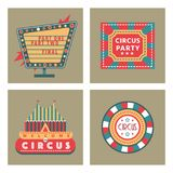Circus vintage signboard labels banner vector illustration entertaining ticket sign. Collection of symbols modern emblems and logos fun tag graphic circus Royalty Free Stock Photography