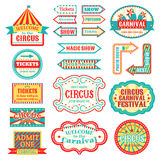 Circus vintage signboard labels banner vector illustration  on white entertaining banner sign. Collection of symbols modern emblems and logos fun tag graphic Royalty Free Stock Images