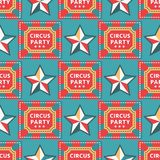 Circus vintage signboard labels seamless pattern background vector illustration entertaining ticket sign. Fun tag graphic circus vector illustration Royalty Free Stock Images