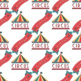 Circus vintage signboard labels seamless pattern background vector illustration entertaining ticket sign. Fun tag graphic circus vector illustration Royalty Free Stock Photo