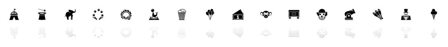 Circus - Vlakke Vectorpictogrammen royalty-vrije illustratie