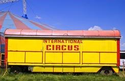 Circus wagon. Old circus wagon painted in vivid colors royalty free stock photo