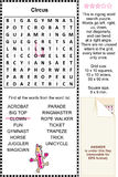 Circus wordsearch raadsel Stock Afbeelding
