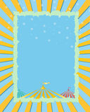 Circus yellow,blue background. Retro Circus. day background poster Stock Illustration