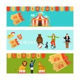 Circusbanners in moderne vlakke stijl Royalty-vrije Stock Afbeeldingen