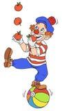 Circusclown het jongleren met Stock Foto