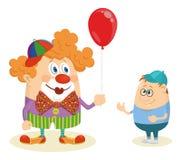 Circusclown met ballon en jongen Stock Afbeelding