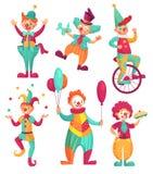 Circusclowns De blijspelacteur van de beeldverhaalclown jonglerend met, grappig clownsneus of het circuskostuum van de narrenpart royalty-vrije illustratie