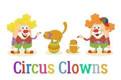 Circusclowns met Opgeleide Dieren royalty-vrije illustratie