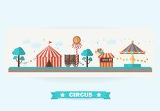 Circusinzameling met Carnaval Stock Afbeeldingen