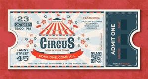 Circuskaartjes Uitstekende Carnaval-gebeurtenisbanner, retro luxecoupon met markttent en partijaankondiging Vectorcircus vector illustratie
