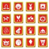 Circuspictogrammen geplaatst rode vierkante vector Stock Foto's