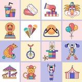 Circuspictogrammen geplaatst vlakke lijn Stock Foto's