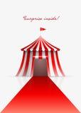 Circustent en rood tapijt stock illustratie