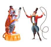 Circustrainer en tijger op een voetstuk Stock Fotografie