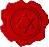 Cire rouge avec l'étoile de David Image stock