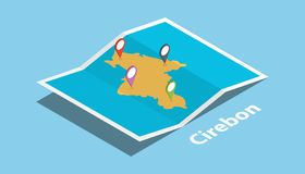 Cirebon indonesia explore maps location with folded map and pin location maker destination in isometric style. Vector illustration royalty free illustration