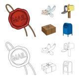 Cirez le joint, le pigeon postal avec l'enveloppe, la boîte aux lettres et le colis Icônes réglées de collection de courrier et d illustration libre de droits