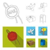 Cirez le joint, le pigeon postal avec l'enveloppe, la boîte aux lettres et le colis Icônes réglées de collection de courrier et d illustration stock