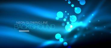 Cirkel abstracte lichten, blauwe neon gloeiende achtergrond royalty-vrije illustratie