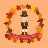 Cirkel Autumn Leaf Thanksgiving Boy Arkivbild