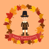 Cirkel Autumn Leaf Thanksgiving Boy Vector Royaltyfri Fotografi