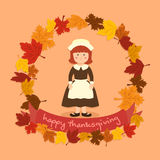 Cirkel Autumn Leaf Thanksgiving Girl Vector Arkivbild