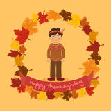 Cirkel Autumn Leaf Thanksgiving Indian Boy Royaltyfria Bilder