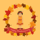 Cirkel Autumn Leaf Thanksgiving Indian Girl Royaltyfri Fotografi