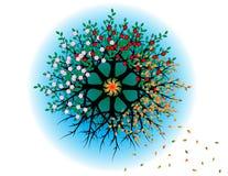 Cirkel av äppleträd i fyra säsonger stock illustrationer