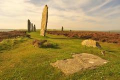 Cirkel av Brodgar, plan slab, Stenness, Orkney isles Royaltyfria Bilder