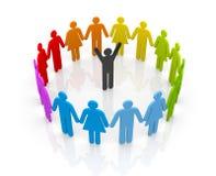Cirkel av folk med ledare stock illustrationer