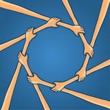 Cirkel av handteamwork som tillsammans rymmer Royaltyfria Foton