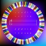 Cirkel av kulöra pianotangenter och musiksymboler Arkivbild