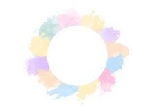 Cirkel av pastellfärgad vattenfärg Kransgräns Royaltyfri Bild