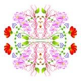 Cirkel bloemenornament Stock Afbeeldingen