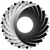 Cirkel, cyclische spiraal, draaikolkelement Grayscale die shap roteren vector illustratie