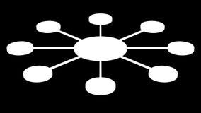 Cirkel die de knopen verbinden het 3d teruggeven stock footage