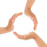 Cirkel die van handen wordt gemaakt stock afbeelding