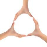 Cirkel die van handen wordt gemaakt Stock Foto's